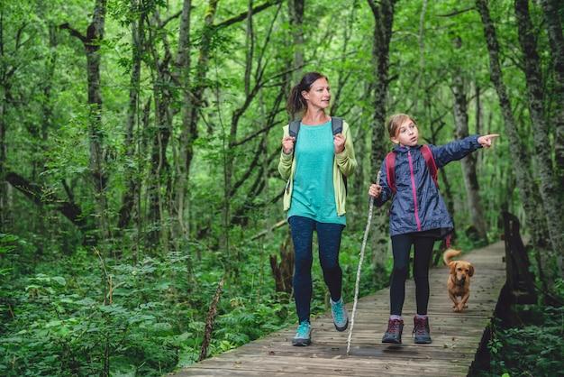 Mutter und tochter mit einem hund, der im wald wandert