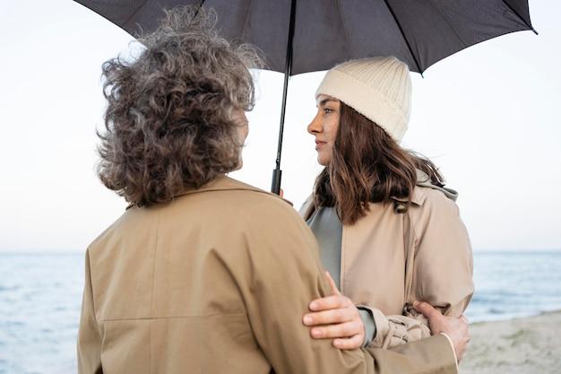 Mutter und tochter teilen einen zärtlichen moment am strand unter einem regenschirm