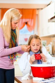 Mutterfürsorge für krankes kind