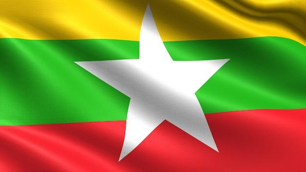 Myanmar-flagge, mit wellenartig bewegender gewebebeschaffenheit