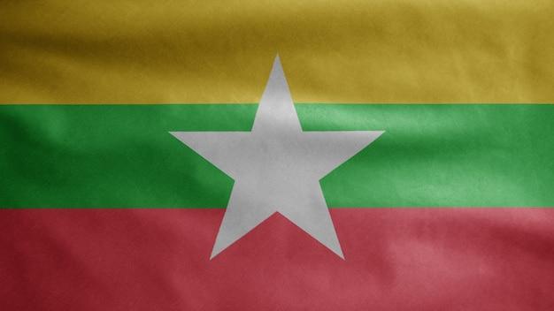 Myanmar-flagge weht im wind. burma-banner weht weiche seide