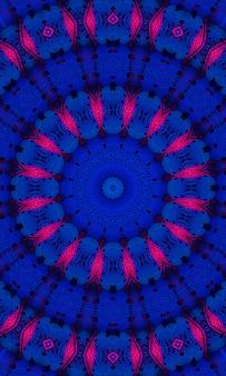 Mykonos blue trendfarbenes kaleidoskop. schöner kaleidoskophintergrund. abstrakte kaleidoskopmuster. bunte mandala-textur. traditionelles kunstdesign der illustration. vertikales bild.