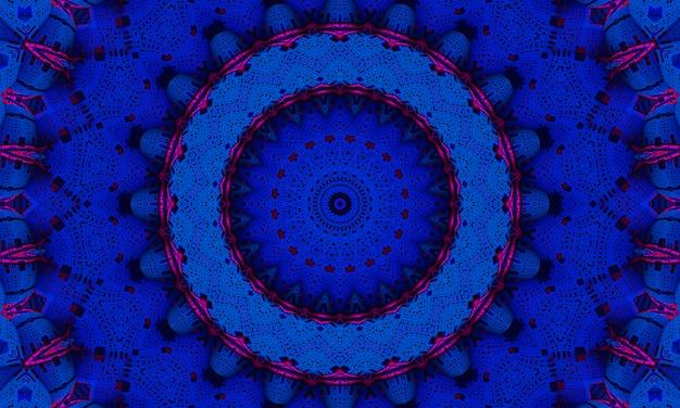 Mykonos blue trendfarbenes kaleidoskop. schöner kaleidoskophintergrund. abstrakte kaleidoskopmuster. bunte mandala-textur. traditionelles kunstdesign der illustration.