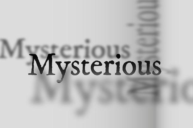 Mysteriöses wort in verblasster schattenschrifttypografieillustration