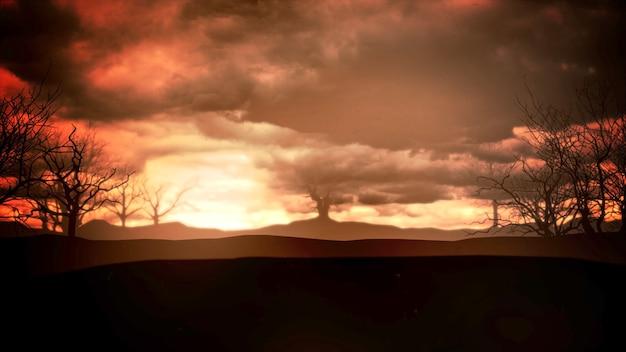 Mystischer halloween-hintergrund mit dunklen wolken und bergen. urlaub abstrakte kulisse. luxuriöse und elegante 3d-darstellung des halloween-themas