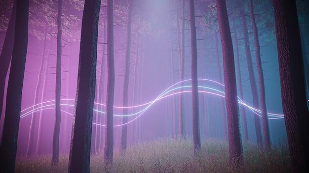 Mystischer nebelwald in ultravioletter neonbeleuchtung mit lichtspuren splines. dunkle und mysteriöse szene. 3d-illustration