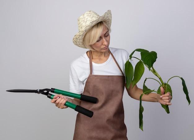Nachdenkliche blonde gärtnerin mittleren alters in uniform mit hut, die pflanze und heckenschere mit blick auf die pflanze hält
