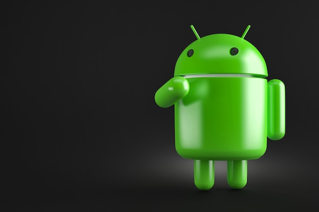 Nachdenklicher android-roboter. 3d-darstellung. enthält beschneidungspfad