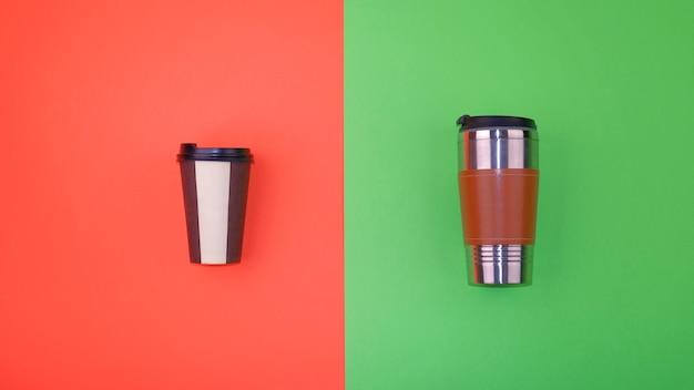 Nachfüllbare und wegwerfbare kaffeetassen