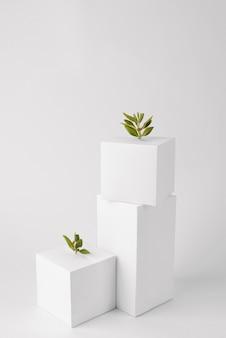 Nachhaltigkeitskonzept mit geometrischen formen und wachsender pflanze