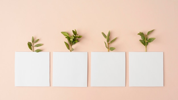Nachhaltigkeitskonzept mit pflanzen, die aus geometrischen formen wachsen