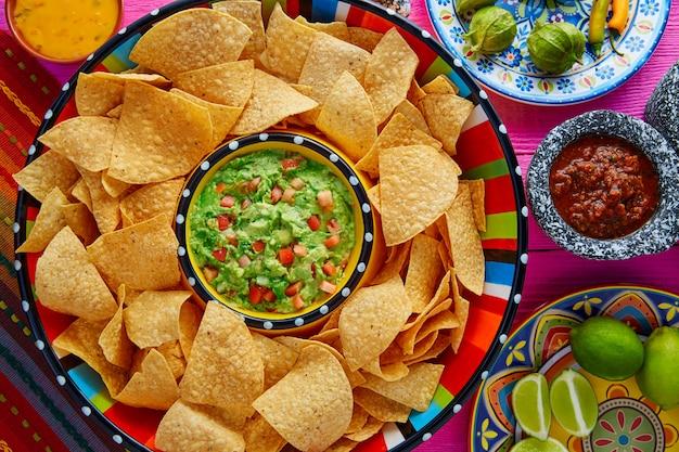 Nachos mit guacamole-tortilla-chips sombrero