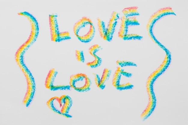 Nachricht über die liebe in lgbt farbigen buchstaben