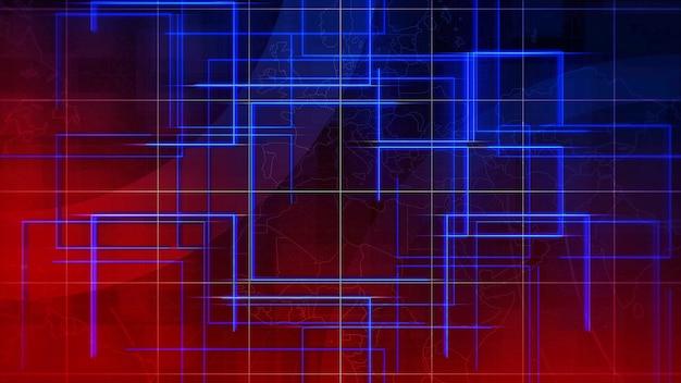 Nachrichten-intro-grafikanimation mit linien und weltkarte, abstrakter hintergrund. eleganter und luxuriöser 3d-illustrationsstil für nachrichten und geschäftsvorlagen