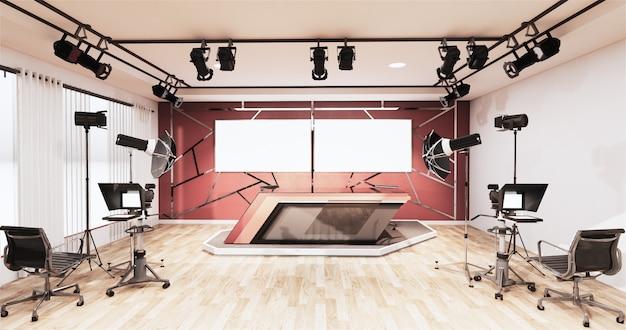 Nachrichtenstudio-raumdesignaluminiumordnungsgold auf roter wand, hintergrund für fernsehshows