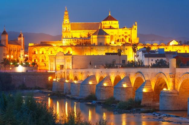 Nacht mezquita und römische brücke in cordoba, spanien
