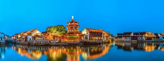 Nachtansicht der antiken stadt suzhou