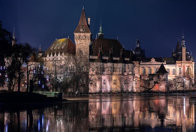 Nachtansicht der burg vajdahunyad in budapest (ungarn)