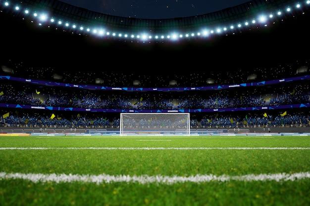 Nachtfußballstadionarena mit publikumsfans hochwertiges foto-rendering