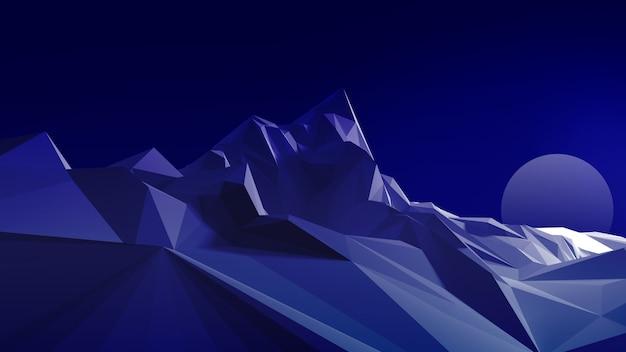 Nachtpolygonales bild eines bergigen geländes gegen den himmel und den mond. 3d darstellung