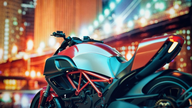 Nachts sind motorräder in der stadt.