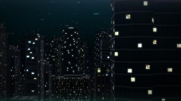 Nachtstadtgebäude. 3d-rendering im stadtbild