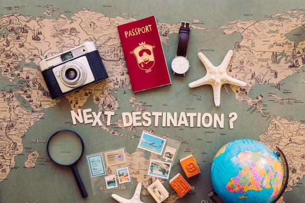 Nächste destination schriftlich und touristische lieferungen