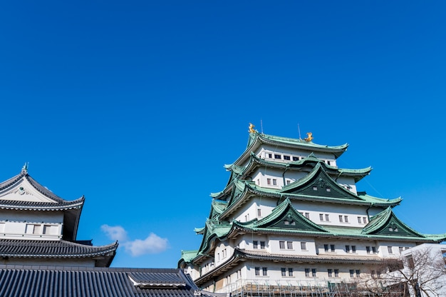 Nagoya schloss und stadtskyline in japan