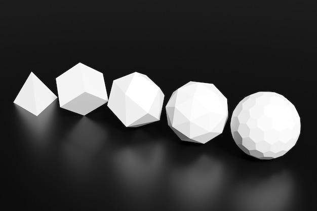 Nahaufnahme 3d gelb monocrome abbildung. verschiedene geometrische formen: würfel, zylinder, kugel werden im gleichen abstand platziert. einfache geometrische formen fliegen