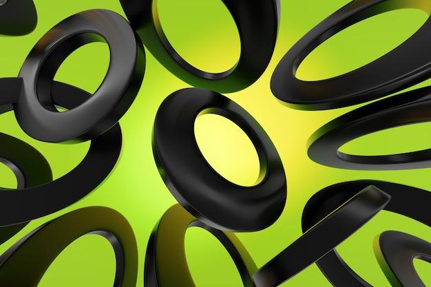 Nahaufnahme 3d monochrome illustration. verschiedene geometrische kreise werden im gleichen abstand platziert.