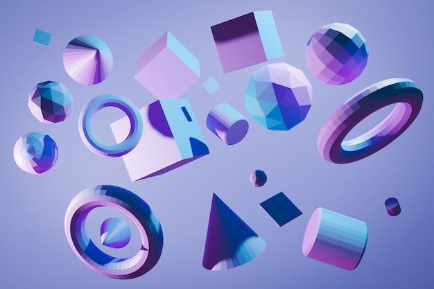 Nahaufnahme 3d verschiedene geometrische formen: würfel, tetraeder, kegel, zylinder, kugel, pyramiden