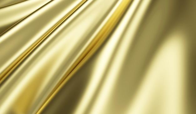 Nahaufnahme ansicht auf gewelltem goldseidenstoff im 3d-rendering