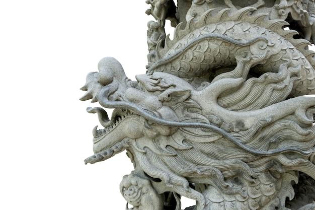 Nahaufnahme auf drachensteinstatue isoliert