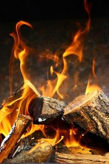 Nahaufnahme auf einem brennenden wald in einer feuerstelle.