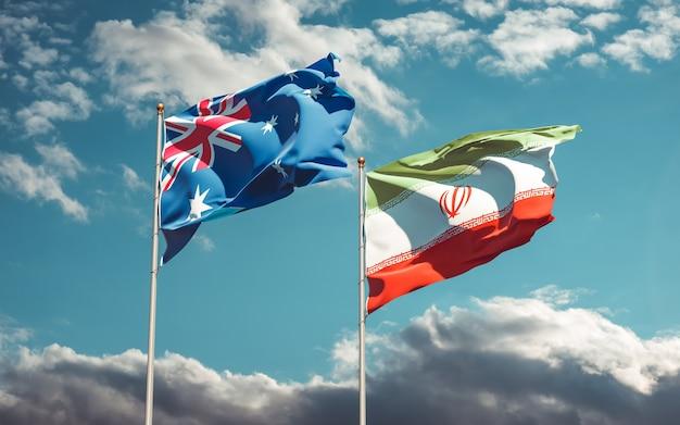 Nahaufnahme auf flaggen des iran und australiens