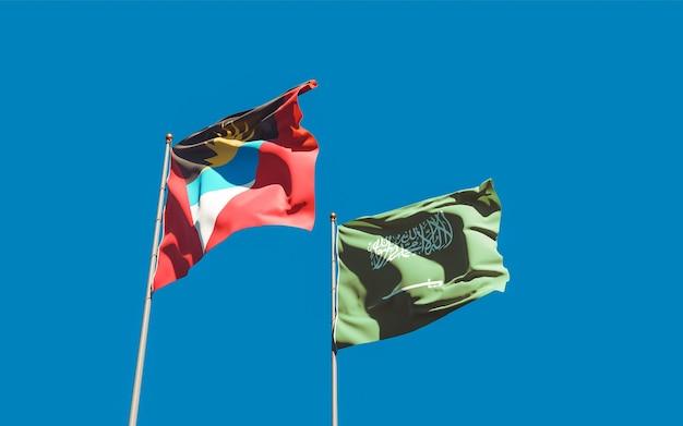 Nahaufnahme auf flaggen von saudi-arabien und antigua und barbuda
