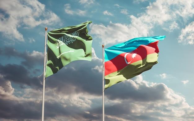 Nahaufnahme auf flaggen von saudi-arabien und aserbaidschan