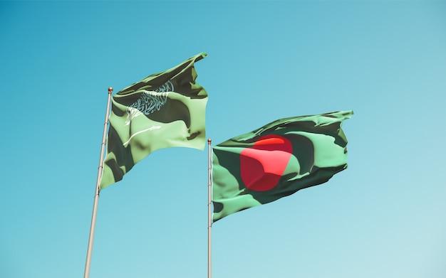 Nahaufnahme auf flaggen von saudi-arabien und bangladesch