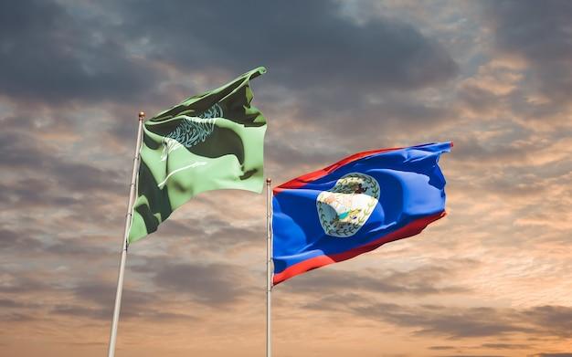 Nahaufnahme auf flaggen von saudi-arabien und belieze