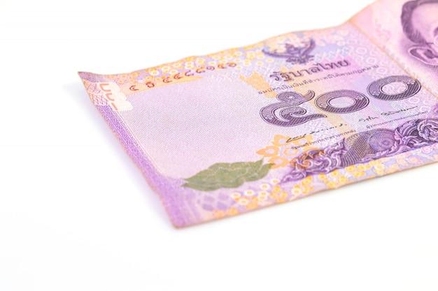 Nahaufnahme bank 500 bad thai mit kopierraum, 500 bad thai und weiß
