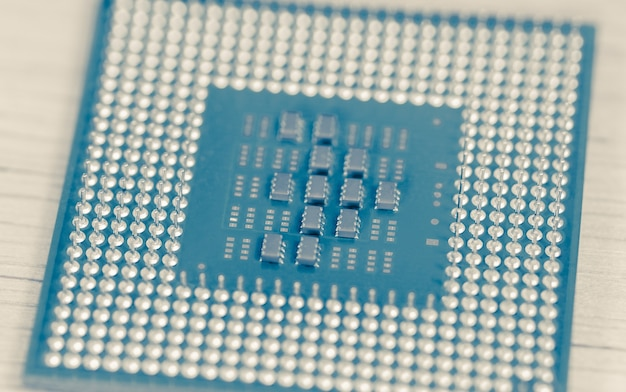 Nahaufnahme-cpu oder zentraleinheit vom motherboard, mikroprozessoreinheit des computerhardwaresystems