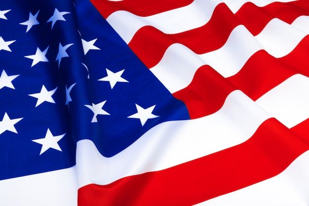 Nahaufnahme der amerikanischen flagge winken