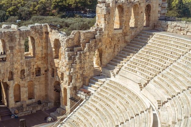 Nahaufnahme der antiken griechischen ruinen