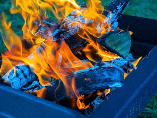 Nahaufnahme der brennenden scheite von brennholz im grill. hintergrund eines brennenden baumes