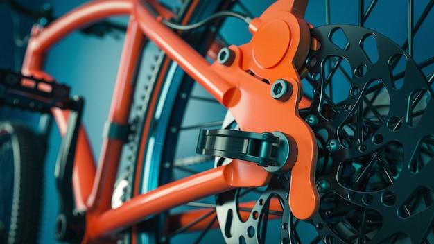 Nahaufnahme der fahrradgetriebe. 3d-rendering und illustration.