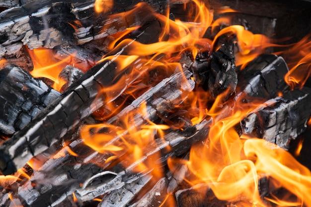 Nahaufnahme der flamme und des brennenden brennholzes und der kohlen