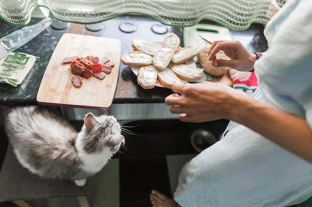 Nahaufnahme der frau toast-käse-sandwiches zubereiten