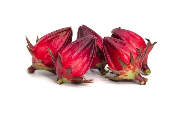 Nahaufnahme der frischen roten rosellenfrucht