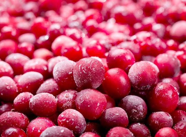 Nahaufnahme der gefrorenen cranberry als
