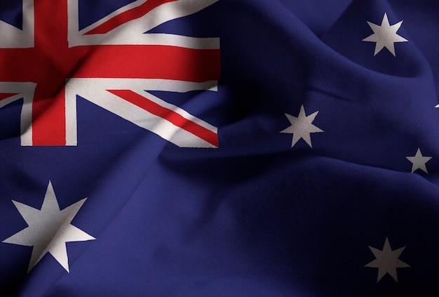 Nahaufnahme der gekräuselten australien-flagge, australien-flagge, die im wind durchbrennt